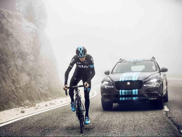 Prototype version of Jaguar's first performance crossover will be seen in public for the first time with light camouflage whilst accompanying Team Sky