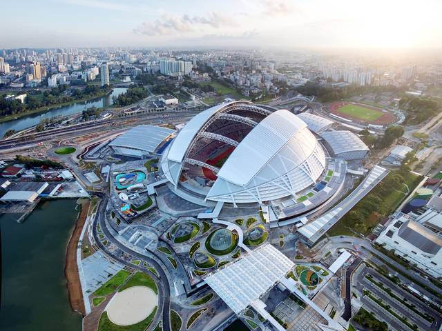 At the heart of Sports Hub is the new National Stadium, a state-of-the-art 55,000 seat sports venue that is the largest free spanning dome structure in the World