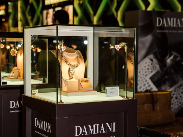 On display is the Damiani 90th Anniversary collection, a limited edition consisting of ten pieces of jewelry, each inspired by a decade of Damiani's history to date