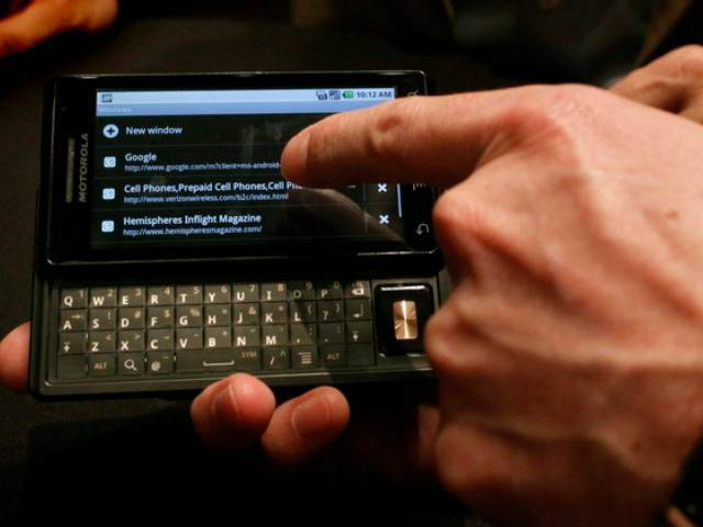 The Droid phone by Motorola includes a computer-like keyboard and a new version of Google Inc's software, Android 2.0