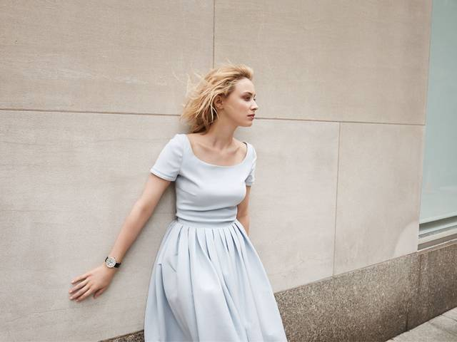 Photographs by Caitlin Cronenberg capturing Sarah Gadon wearing a Jaeger-LeCoultre Rendez-Vous watch is displayed in the label's New York flagship store