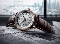 The GMT wristwatch from the Longines Master Collection bears the highlighted name of Singapore on its timezone ring and a commemorative print on its back