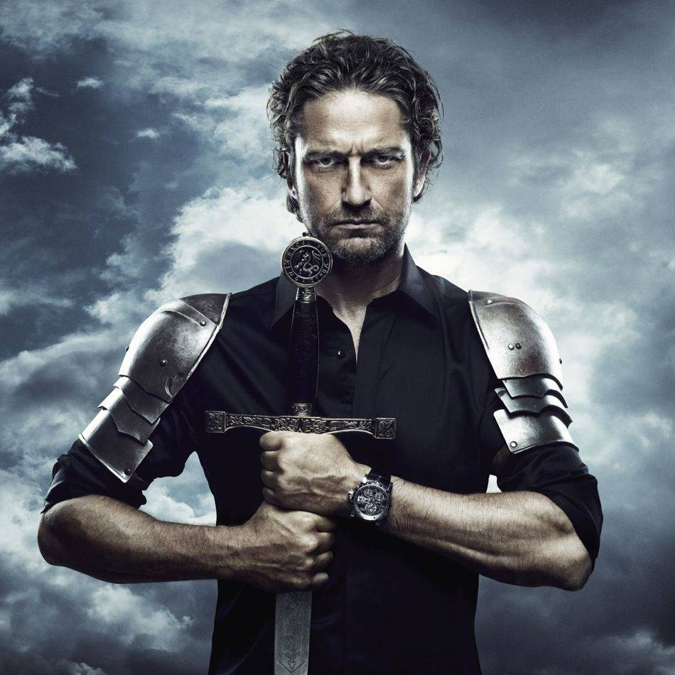 Gerard Butler has kept the faith with Geneva watchmaker Roger Dubuis and enjoys showing off this watch that is so like him, one of the Warrior world