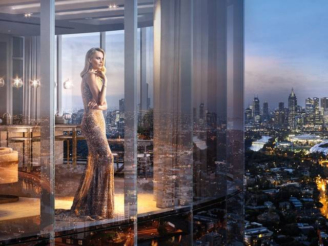 The South African actress fronts the marketing for Melbourne's first six-star residential and luxury retail destination