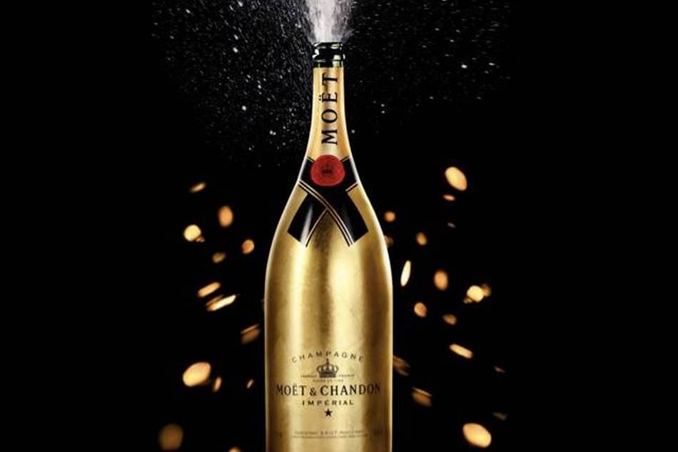 The Moët & Chandon Golden Methuselah covered in gold leaf