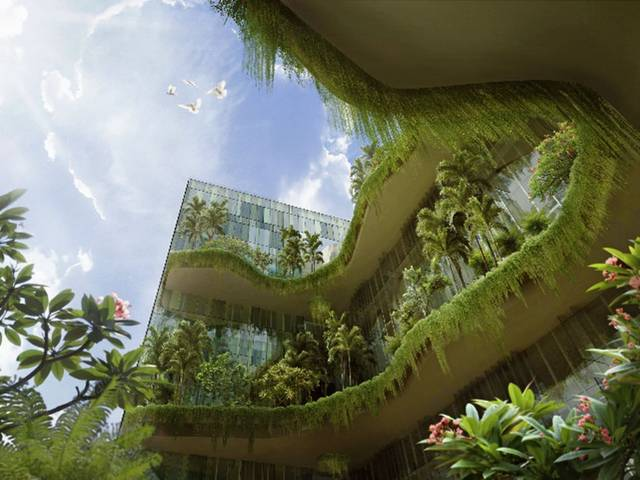 The hotel adopts a hotel-in-a-garden concept and incorporates energy-saving features throughout the property
