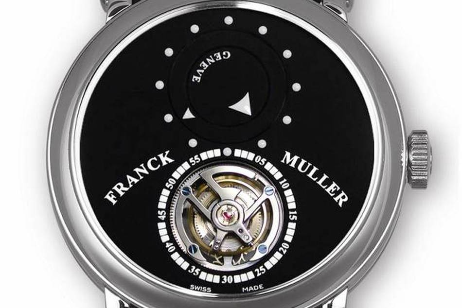 Featuring Franck Muller's patented way of not using hour and minute hands to show the time