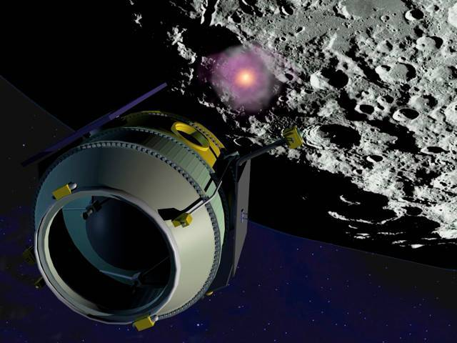 Artist's impression of the LCROSS and its Centaur booster rocket crashing into the moon
