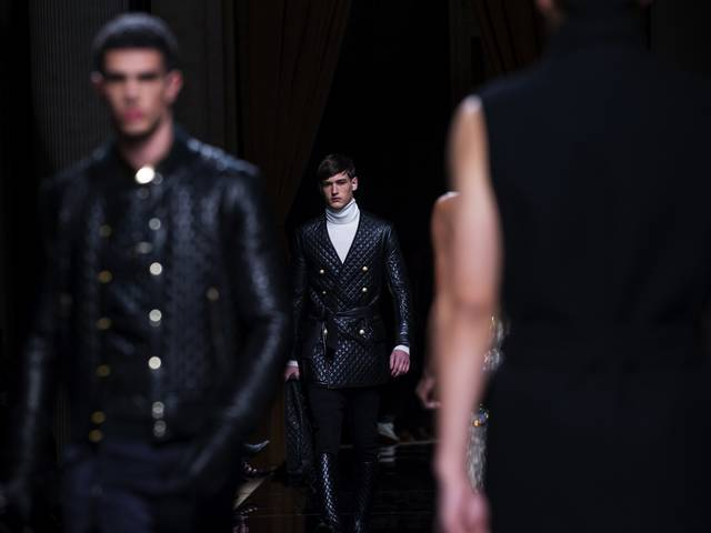 The Gay Hussars provided the starting point of, and continues the military-themed designs by Rousteing, in his sophomoric menswear collection for the label
