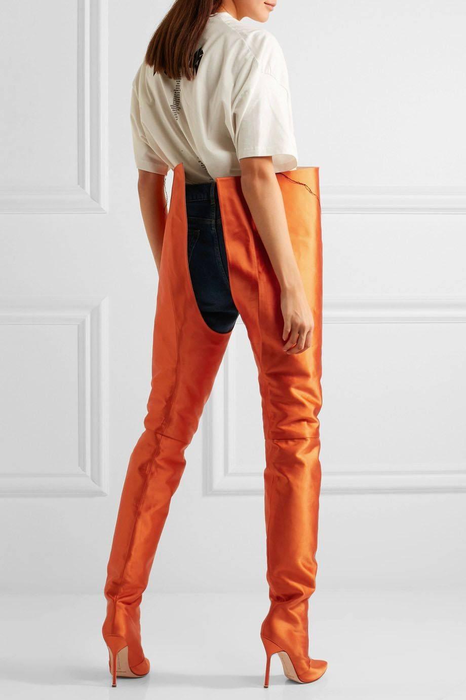 V 234 Tements X Manolo Blahnik Satin Thigh High Boots Senatus