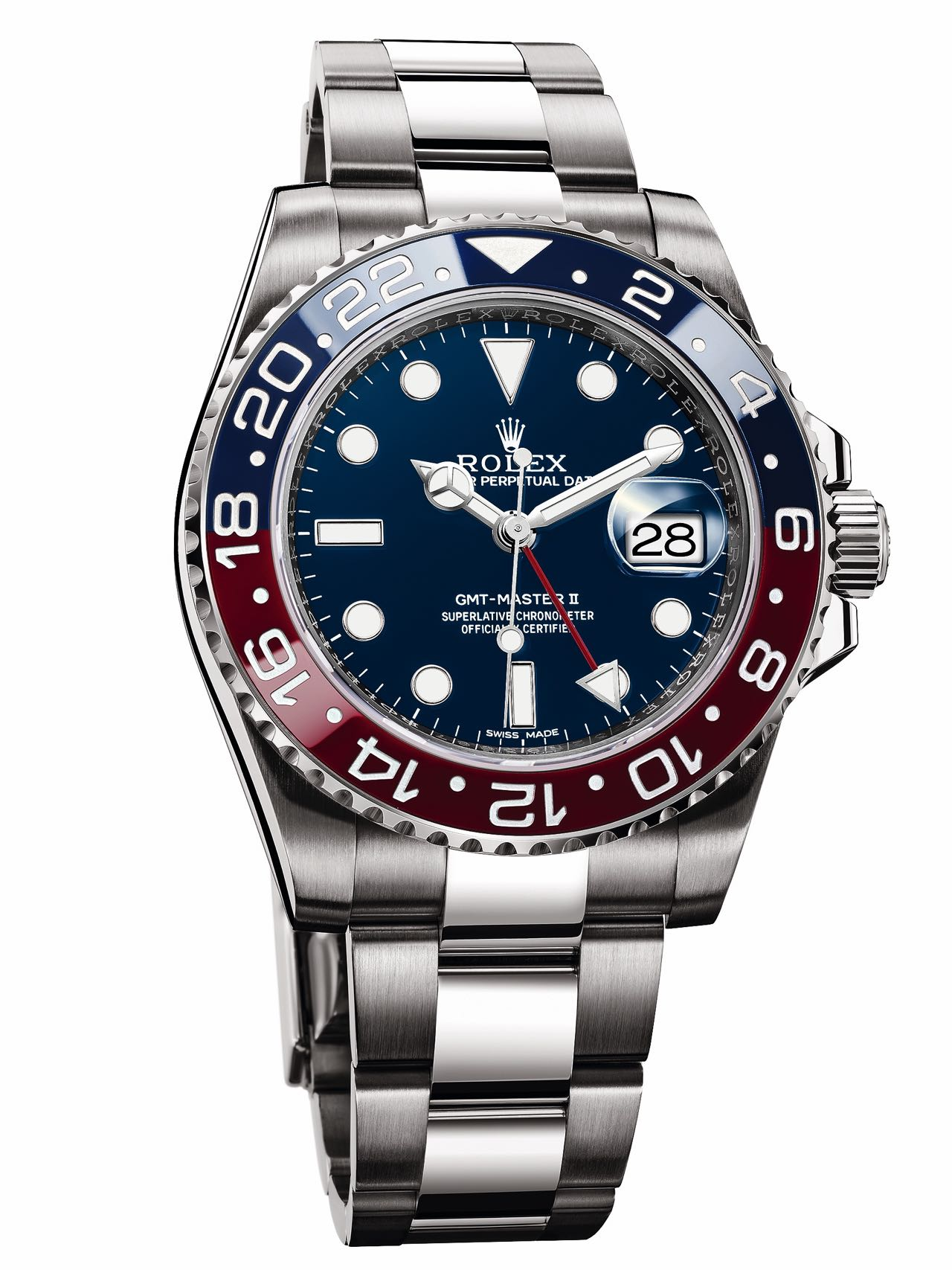 6d881754c Rolex Oyster Perpetual GMT-Master II, 2014, in 18 ct white gold, with red  and blue bezel