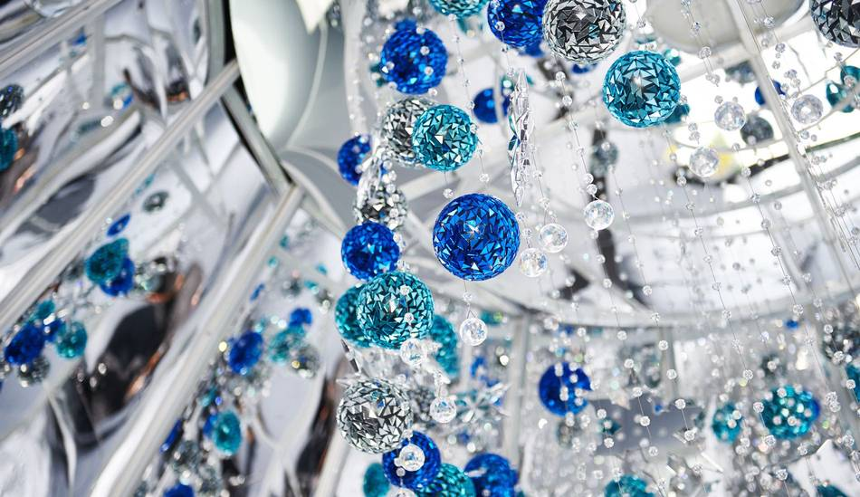 The Austrian label's walk-in Christmas tree features 80 crystal strands, each measuring an impressive 20 meters, embellished with more than 28,000 stunning clear crystals