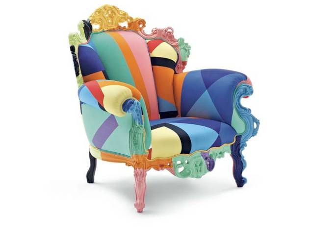 Capellini has reupholstered the Proust Geometrica, in a new cotton fabric by Alessandro Mendini