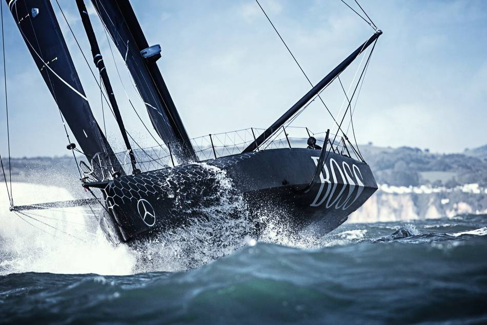 The brand new IMOCA 60 Hugo Boss has an innovative paint characterised by an infrared-reflective effect and a unique aesthetic touch contributed by Konstantin Grcic, a world renowned industrial designer