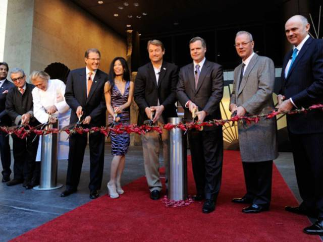 Distinguished guests Adam D. Tihany, Pierre Gagnaire and Vanessa Mae joined in the ribbon cutting