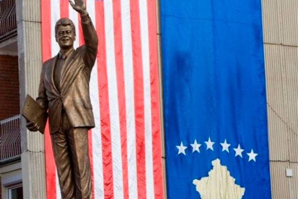 The 11 foot statue on Bill Clinton Boulevard in the Kosovo Capital of Pristina