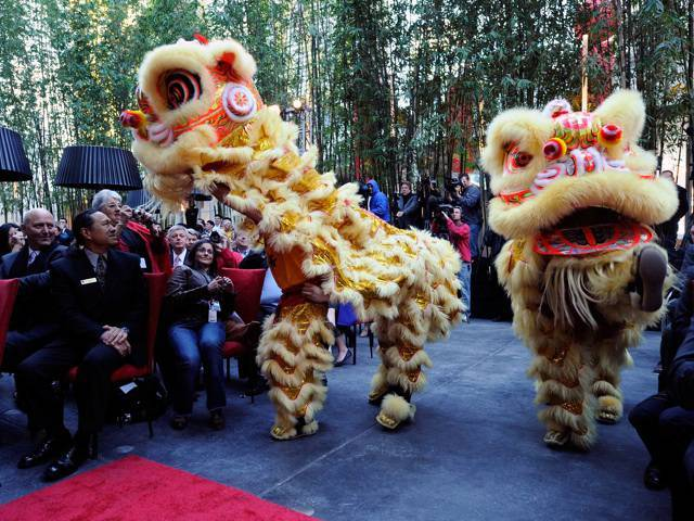 A traditional lion dance followed a feng shui master's harmonizing ceremony