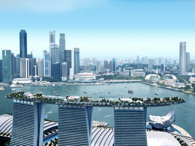 The SkyPark will offer a public observation deck, landscaped gardens, sprawling outdoor pools, etc