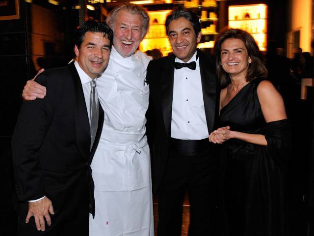Richard Baker, Pierre Gagnaire, Rajesh Jhingon and Sylvie Gagnaire at the gala