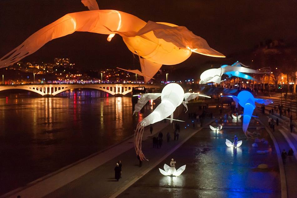 Be enchanted by giant dream-like light birds dancing in a spectacular aerial ballet