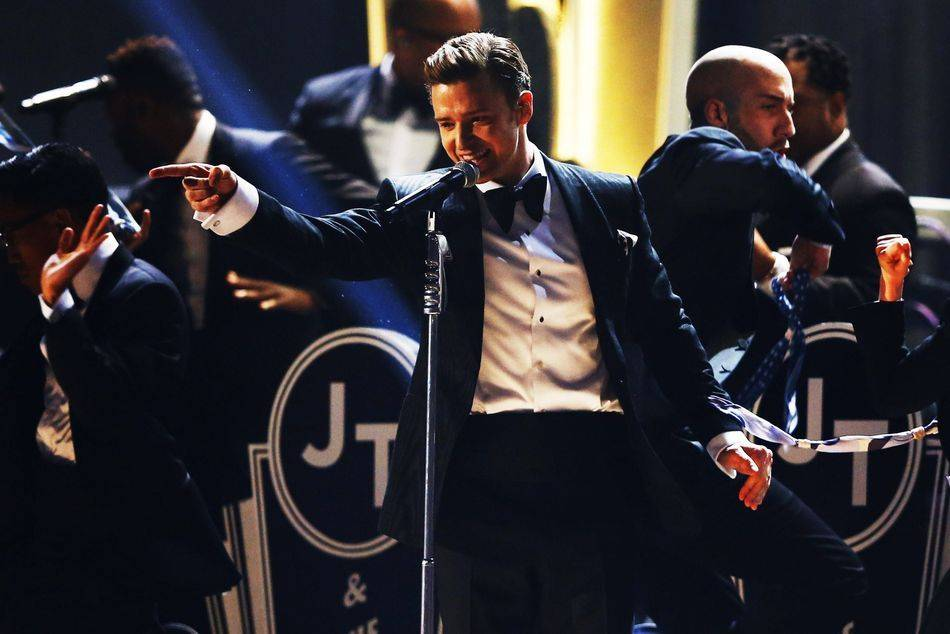 Justin Timberlake performs at the 2013 Grammy Awards, a return to the spotlight with his first televised performance since he released Suit & Tie in January, his first new song in five years