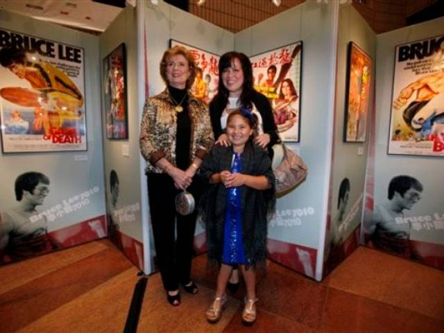 Linda Cadwell, Shannon Lee and Wren Keasler at the opening ceremony for Bruce Lee's exhibition