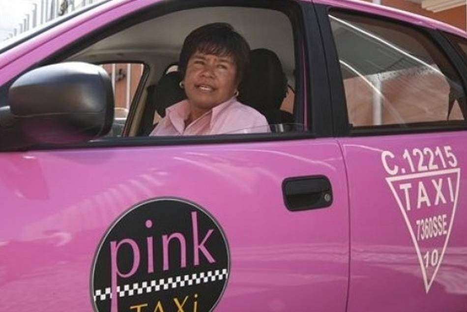 Pink taxis exclusively for women, driven by women. Photo credit: AP