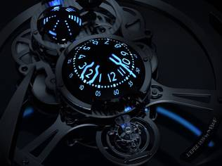 James Thompson illuminates MB&F's pieces with his signature solid blocks of brightly coloured, high-efficiency lume